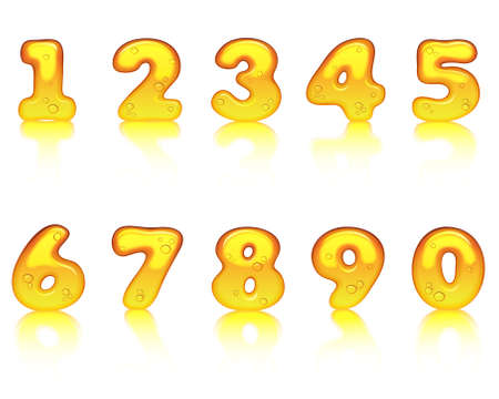 Vector honey alphabet  Numbers Vector