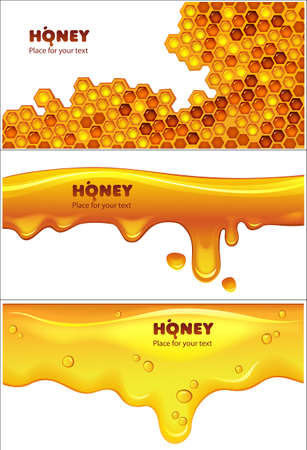 Set of EPS10 vector honey banners Vector