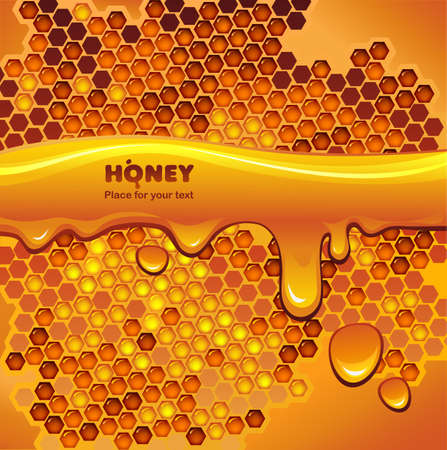 hive: Vector background with honeycomb and flowing honey