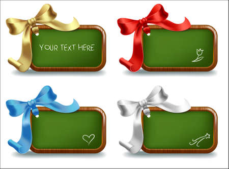 Set of little chalkboards with places for text and color bows Vector