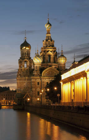 na: Saint Petersburg, Russia, Orthodox Church  Spas na Krovi    Taken at night during Summer  White Nights   Stock Photo
