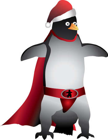 caped: Super Hero Penguin Santa  With red hat and cape