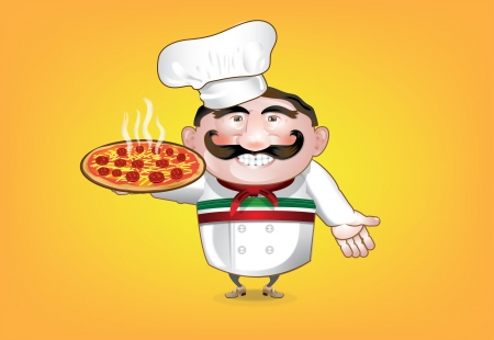 Italian Pizza Man Vector