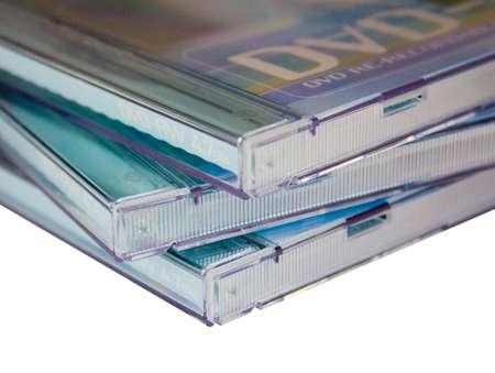 dvdrw: Stack of three DVD Cases on white