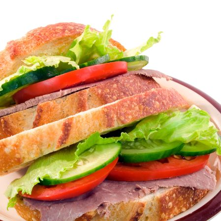 Salad sandwich on sourdough bread on white background Stock Photo - 2779956