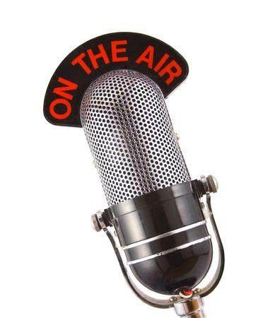 microfono radio: Retro micr�fono utilizado para la radio, hablar de nuevo, transmisiones de noticias