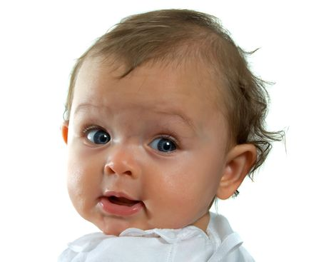 Gorgeous baby girl with blue eyes looking over her shoulder on white background