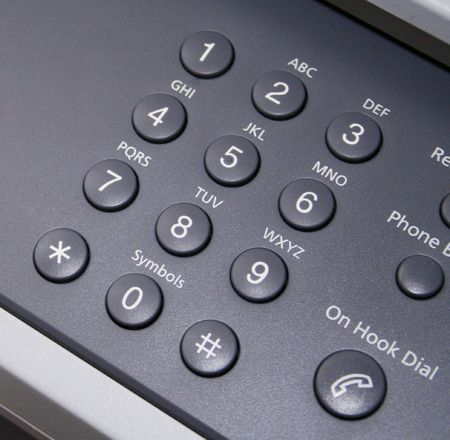 Close up of telephone fax key pad. photo