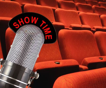 show time: Show Time message on vintage microphone with theatre seating in the background.