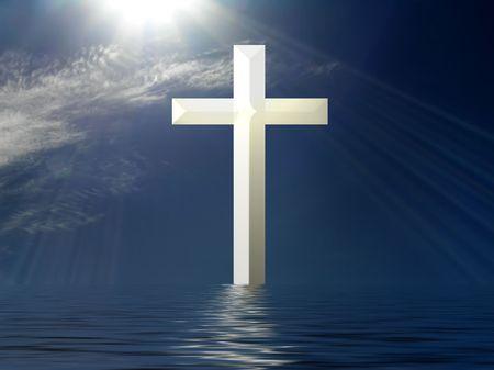 cruz religiosa: Santa Cruz soles con rayos de agua y la reflexi�n  Foto de archivo
