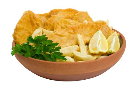 Fish, chips and potato cakes isolated over white background Stock Photo