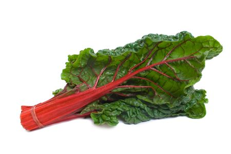 Red Stalk Silverbeet isolated over white background