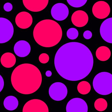 Pink and Purple Polka Dots on Black Background which will tile seamlessly. photo