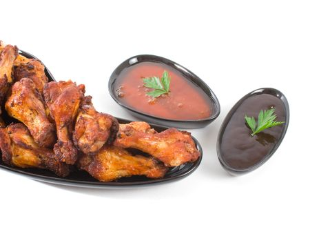 Chicken Wing Niblettes with dipping sauces over white background Stock Photo - 3835596
