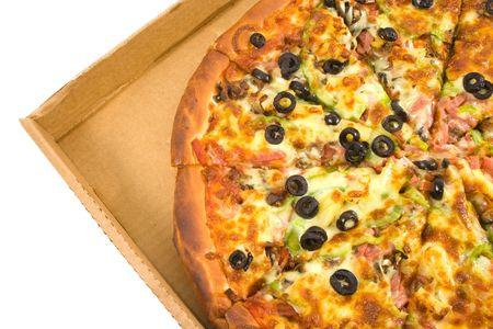 Supreme Pizza sliced in box.