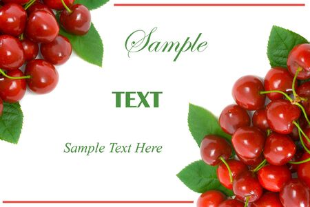 Ripe Cherries in top left and bottom right corner with white copy space for text in centre. photo