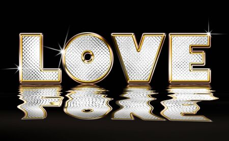 Gold and Diamond illustration of the word Love with water ripple reflection over black background illustration