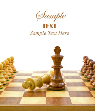 Chess Pieces on Board with copy space for text. Stock Photo - 4047350