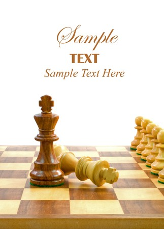 Chess Pieces on Board with copy space for text. Stock Photo - 4047349