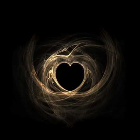 sheen: Beautiful gold fractal heart over black background