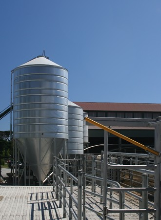 Dairy farm holding pens and grain silo Stock Photo