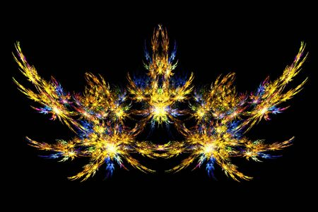 Beautiful bright spark fractal design in gold with blue highlights over black background photo