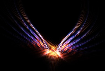This Phoenix Fire Bird abstract fractal image is in vibrant colours over black background. Stock Photo