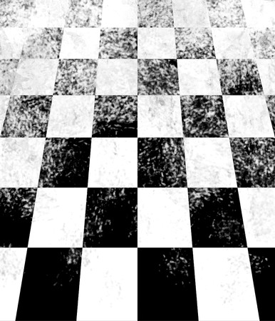 Black and white checkerboard receeding into the distance showing perspective. Stock Photo