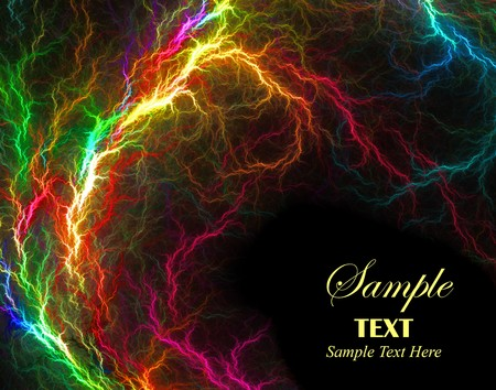 Beautiful vibrant multi-colored lightening over black background with copy space.