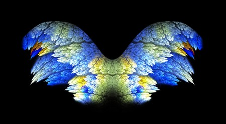 Feathery detailed angel wings fractal in blue and gold tones over black background