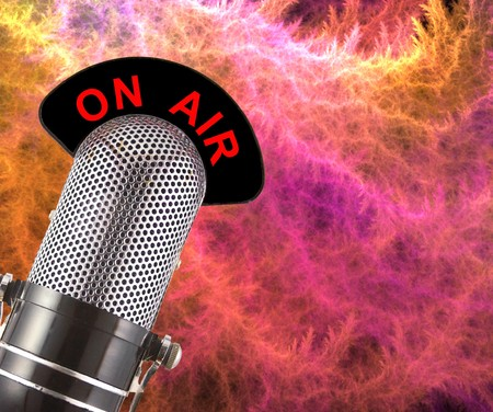 On Air vintage microphone over colourful smoke background. Stock Photo - 4525589