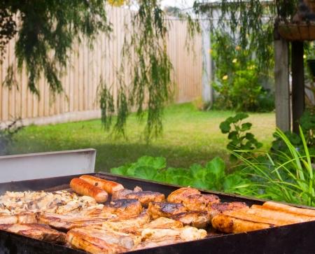 Backyard barbecue con salsicce, chops, bistecca e cipolle Archivio Fotografico