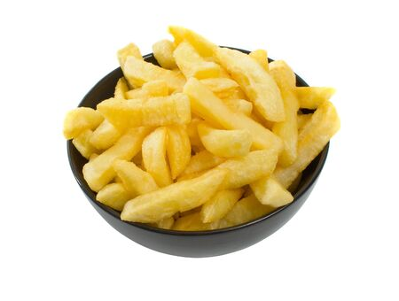Bowl of freshly fried hot chips isolated over white background.  photo