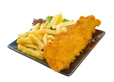 Fish and chips on plate isolated over white background