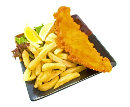 potato chip: Fish and chips on plate isolated over white background