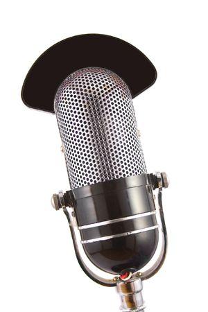 Retro microphone used for radio, talk back, news broadcasts Stock Photo