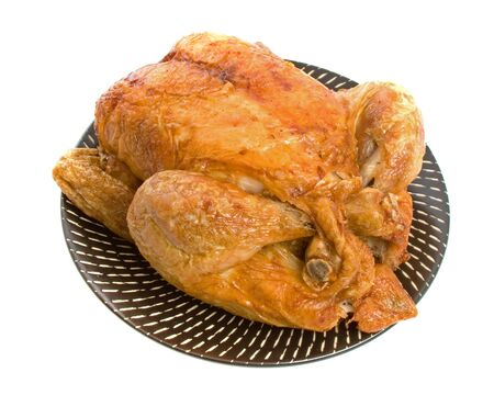 Roast Chicken isolated over a white background Stock Photo - 4697488