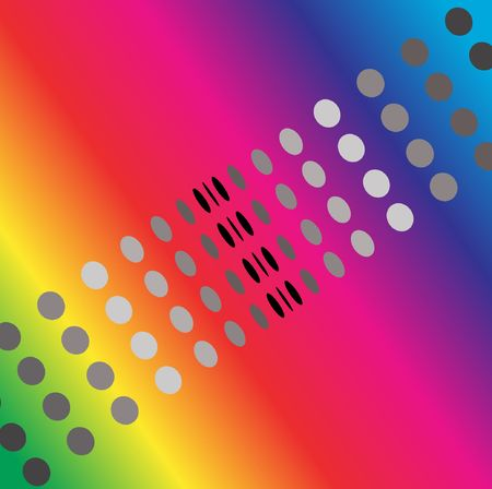 converge: Abstract image of converging dots over rainbow background