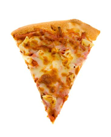 Single slice of Hawaiian Pizza isolated over white background.