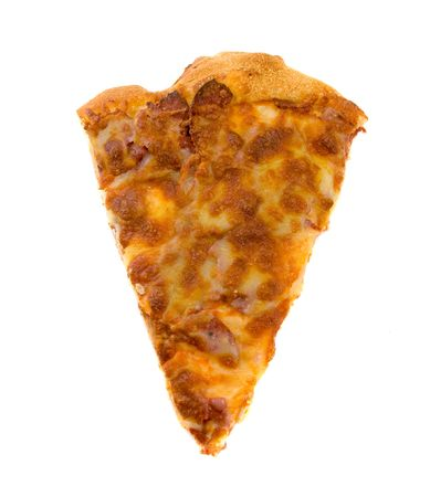 Single slice of Pepperoni Pizza isolated over white background. Stock Photo
