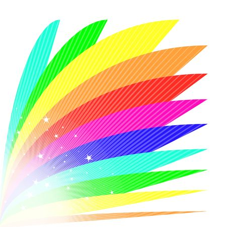 Bright rainbow fan illustration in vibrant colors.