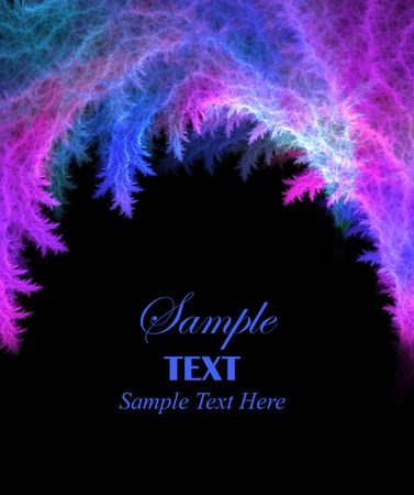Bright blue and pink abstract background over black with copy space for text.