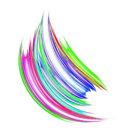 Vibrant colorful paint brush stroke over white background.