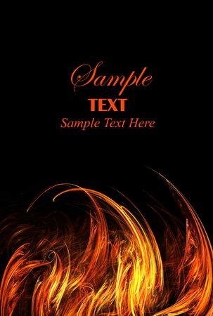 Abstract fire lower border isolated over black background with copy space for text.