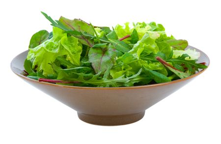 Fresh mixed salad greens in serving bowl isolated over white background. Stock Photo - 4829761
