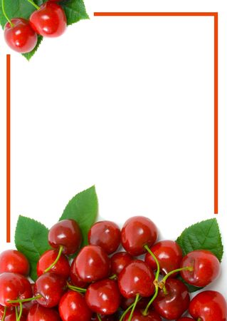 Ripe sweet cherry border over white background with copy space.