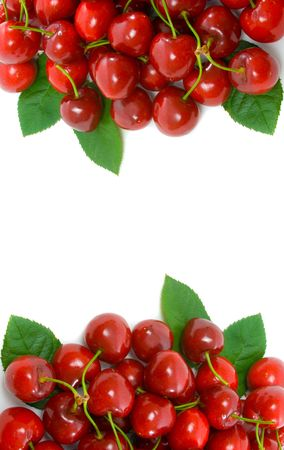 Ripe red cherry side borders with centre white copy space