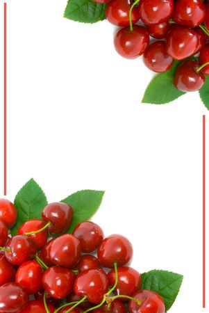 crimson colour: Ripe Cherries in top left and bottom right corner with white copy space for text in centre.