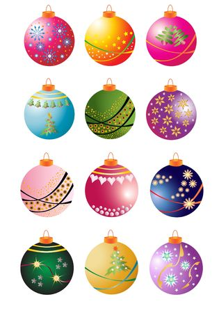 Collection of 12 Christmas Bauble Illustrations Stock Photo