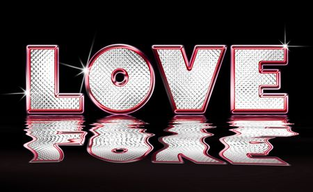 Pink Metallic and Diamond illustration of the word Love with water ripple reflection over black background illustration